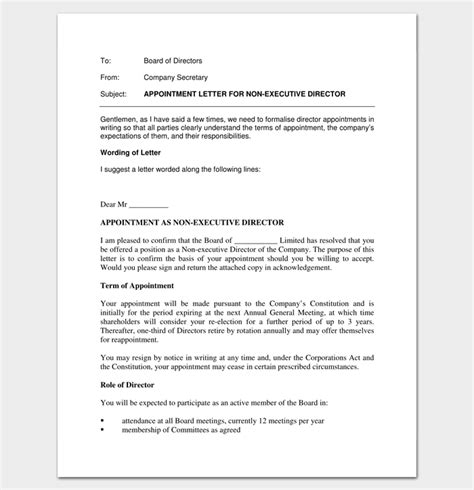 appointment letter format of director company appointment letter 9 docs for word and pdf format