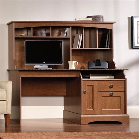 Sauder Graham Hill Computer Desk With Hutch Autumn Maple Graham Hill Computer Desk With Hutch In Autumn Maple Finish 408951