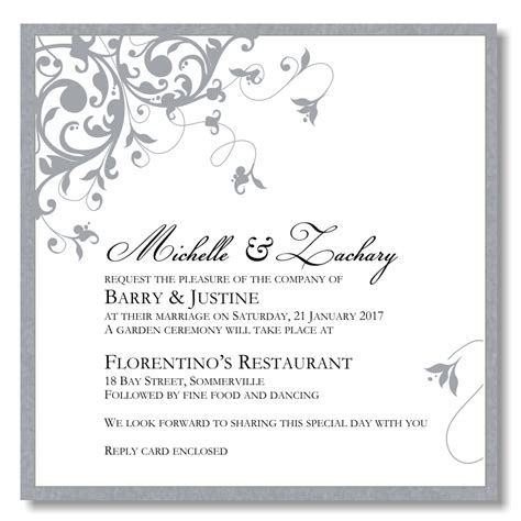 silver wedding invitation templates sunshinebizsolutions com