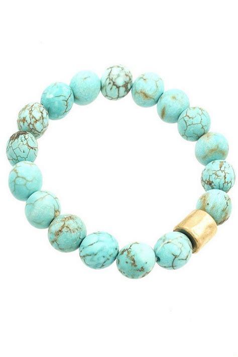 semi precious hammered metal bead stretch bracelet