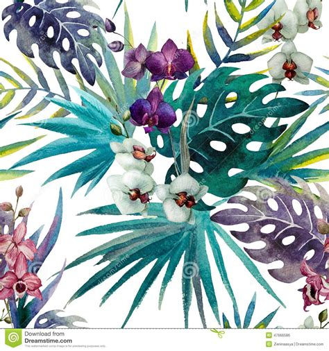 Selimut Patchwork Motif Purple Flower pattern orchid hibiscus leaves watercolor tropics stock
