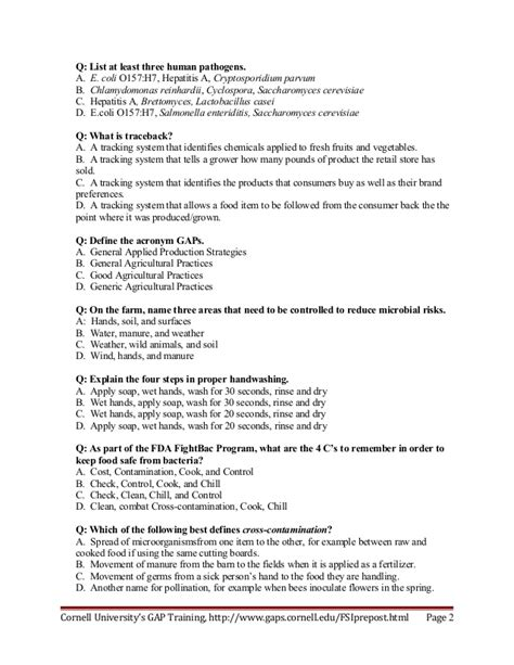 food safety curriculum test