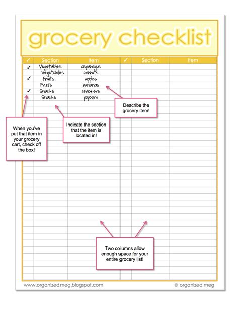 free printable grocery check off list organized meg grocery list printables