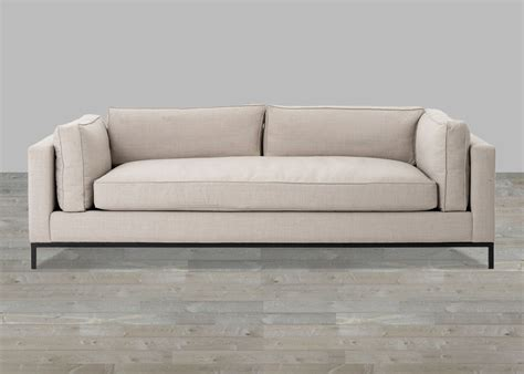 sofa one beige linen sofa with single seat cushion