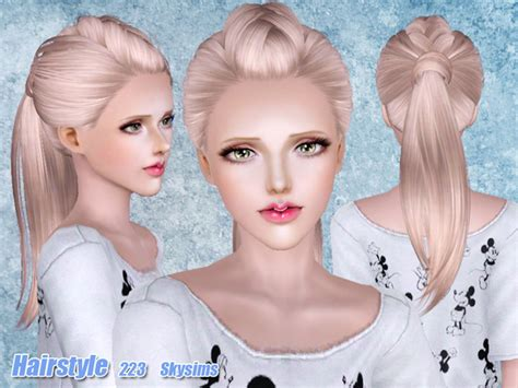 small ponytail hairstyle 228 by skysims sims 3 hairs the sims 3 half braided ponytail hairstyle 223 by skysims