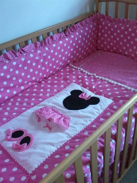 Minnie Mouse Crib Bedding Nursery Set Minnie Mouse Pretty In Pink 6 Nursery Set 325 00 Via Etsy For The