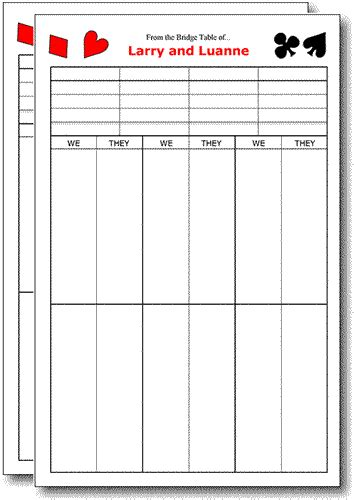 bridge score card template bridge score pads contract bold set of 2