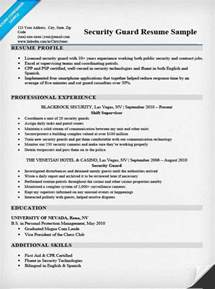 security guard resume sle writing tips resume companion security guard job resume sle