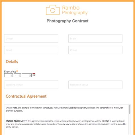 Event Photography Contract Template Choice Image Template Design Ideas Free Email Templates For Portrait Photographers