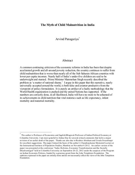 Malnutrition Essay by Paper The Myth Of Child Malnutrition In India