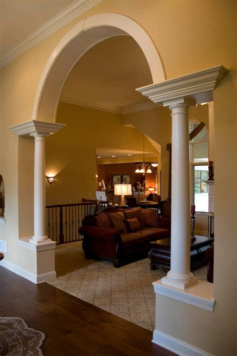 column interior design entry transitional with coffee