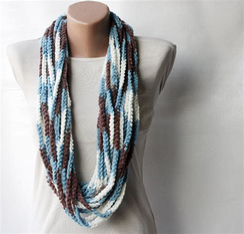 brown pattern scarf crochet scarf infinity chunky wool blend multicolor