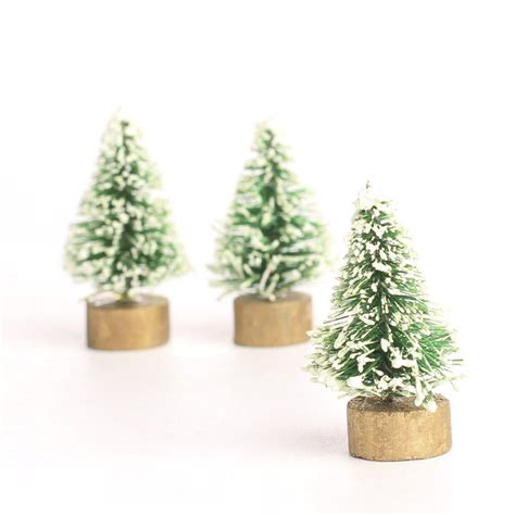 miniature frosted green bottle brush trees christmas