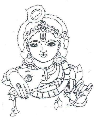 free coloring pages of little krishna with radha