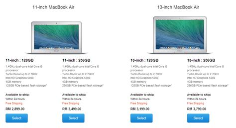 Apple Macbook Air Malaysia apple mengemaskini harga macbook air spesifikasi