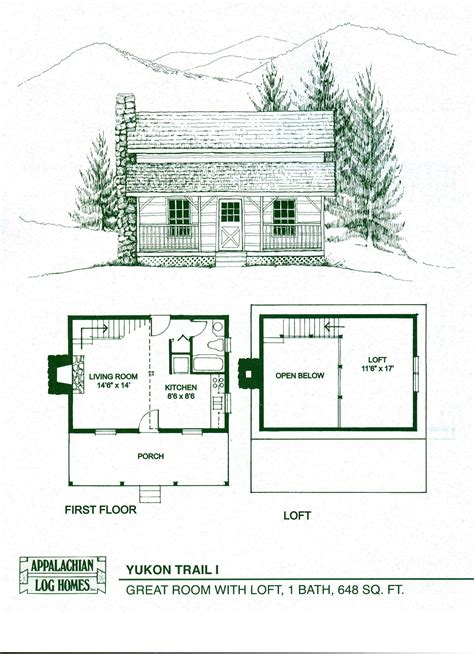 log cabin floor plans with loft log home package kits log cabin kits yukon trail i model