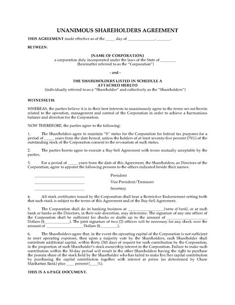 Usa Shareholders Agreement For S Corporation Legal Forms And Business Templates Megadox Com Stockholder Agreement Template