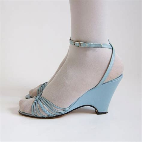 vtg light blue pleather wedge strappy by primordialcreatures
