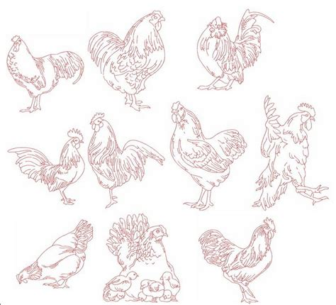 embroidery design redwork redwork roosters machine embroidery designs by sew swell