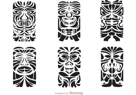 tribal tiki tattoo tiki totem hawaiian tribal vectors free vector