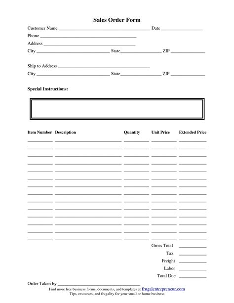 Template For Form order form template e commercewordpress