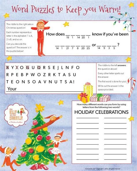 elf on the shelf printable word search word puzzles elf on the shelf pinterest
