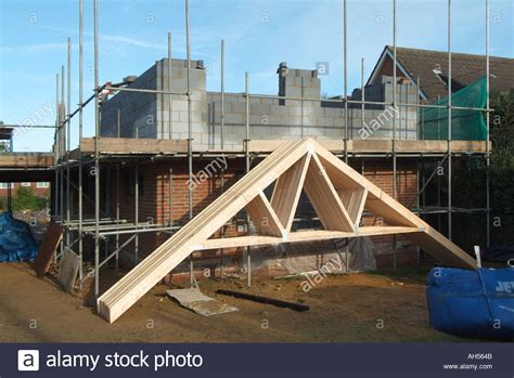 House building site prefabricated timber roof trusses