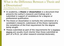 Image result for what is the difference between thesis and dissertation
