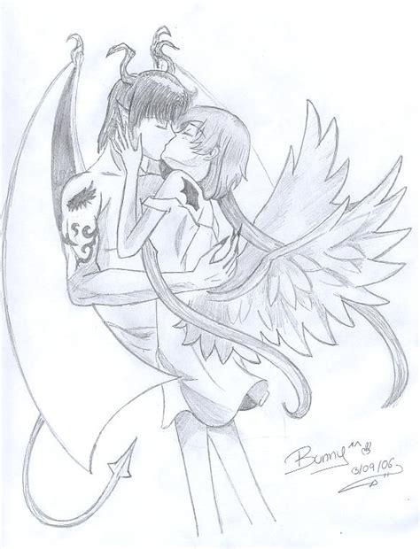 imagenes de angeles y demonios para dibujar a lapiz animes para dibujar a lapiz angeles enamorados imagui