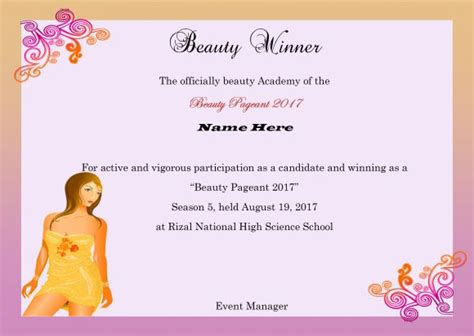 pageant certificate template 14 free pageant certificate templates for your next