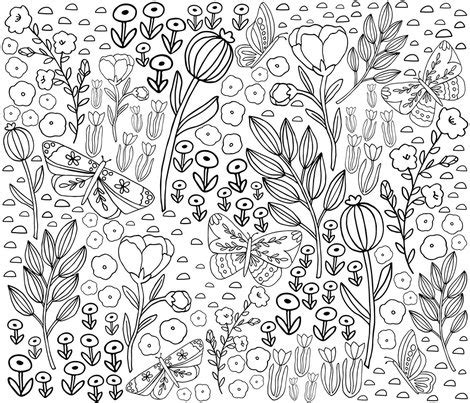 butterfly meadow coloring pages floral butterfly meadow fabric kristinnicoleart
