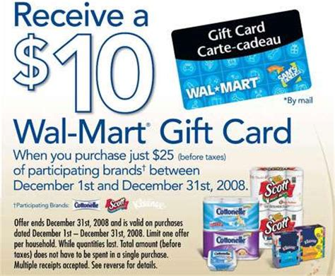 Trade In Gift Cards For Cash At Walmart - walmart canada free 10 gift card with 25 purchase of scotts cottonelle kleenex
