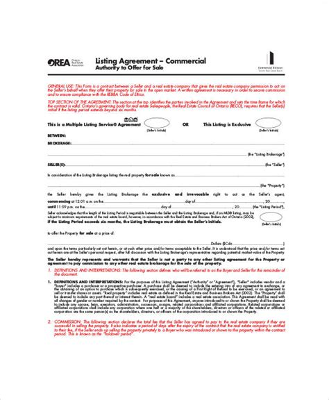 7 sle business listing agreements sle templates