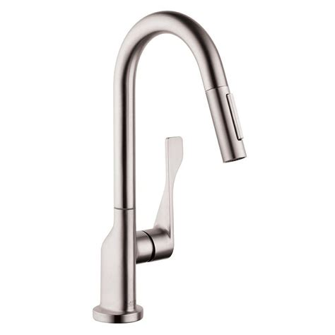 Hansgrohe Kitchen Faucets Hansgrohe Axor Citterio Prep Single Handle Pull Sprayer Kitchen Faucet In Steel Optik