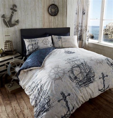 duvet cover bed sets nautical themed ship printed