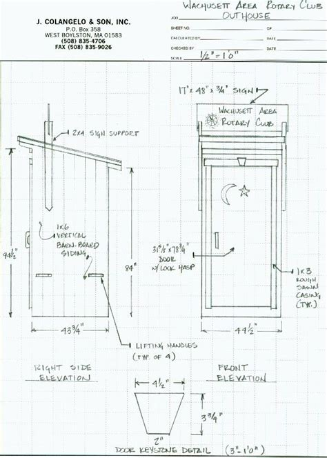 blueprints builder outhouse construction plans free woodworking projects