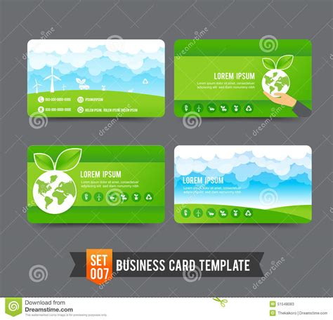 how to set up a business card template in photoshop business card template set 007 ecology concept stock