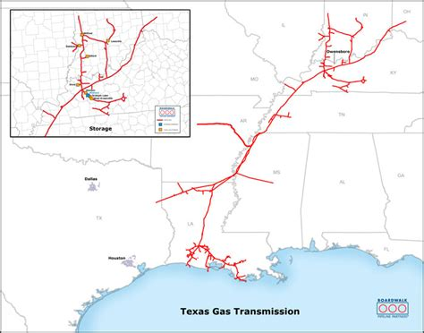 pipeline map texas texas gas overview