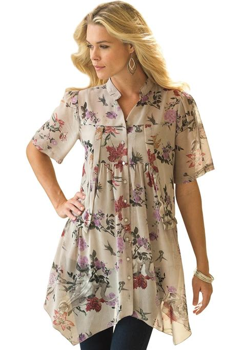 floral blouse by denim 24 7 plus size tops and tees roamans moda floral