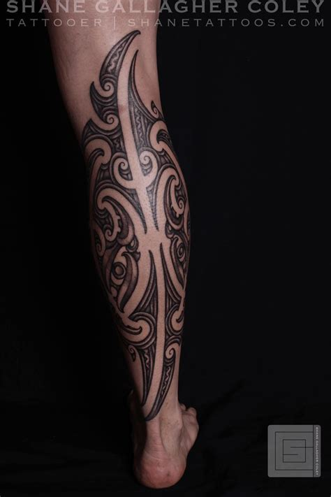 tribal tattoo calf shane tattoos maori calf ta moko tat