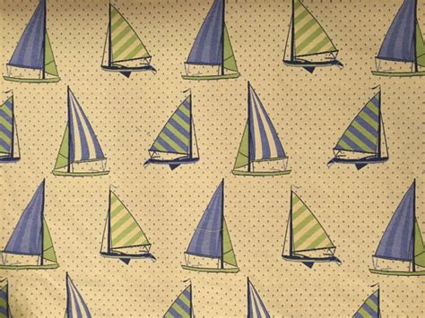 Sail Boat Regatta Blue Green Upholstery Fabric By The Yard