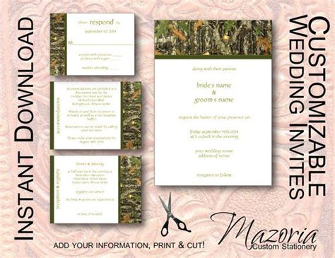 camouflage invitation template diy wedding invite set template instant printable