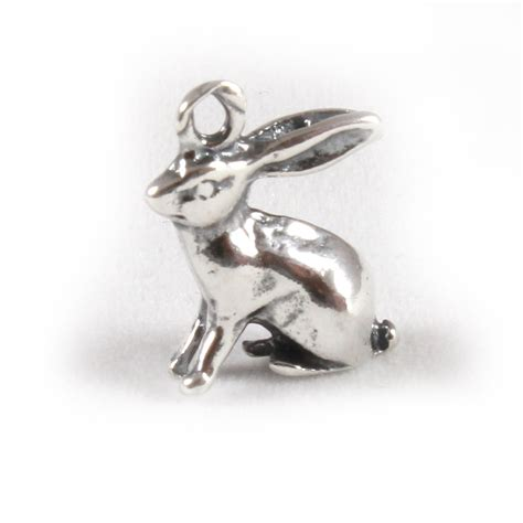rabbit charm 3d sterling silver charms bunny
