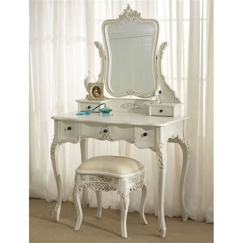White Vintage Vanity Table White Wood Dressing Table Mirror With Drawers And Stool In