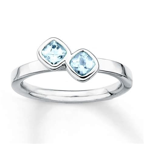 jared stackable aquamarine ring sterling silver