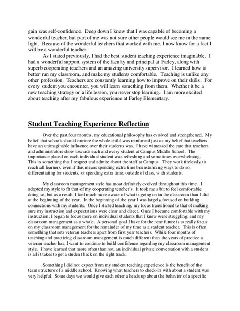 Sample Talent Resume by Student Teaching Reflection