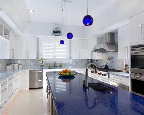 Blue Kitchen Countertops Shining Blue Quartz Countertops Installation In Towaco Nj