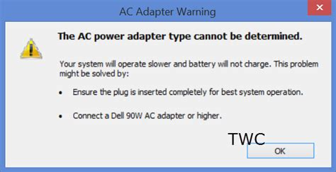 dell charger not recognized the ac power adapter type cannot be determined in dell