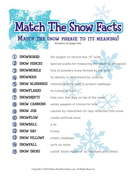 free printable christmas games church party here is one of the facts sheets that you will get with the