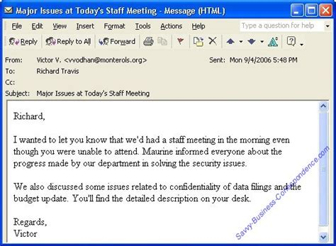 layout of email writing email message summarizing issues discussed at a staff